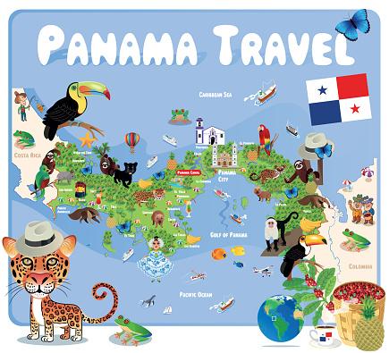 Panama Cartoon Map, Panama, San Miguelito, Juan Diaz, David, Arraijan, Colon, Las Cumbres, La Chorrera, Pedregal, Tocumen, Santiago de Veraguas, Parque Lefevre, Chilibre, Cativa, Rio Abajo, Nuevo Belen, Ancon, Alcalde Diaz, El Chorrillo, Changuinola
