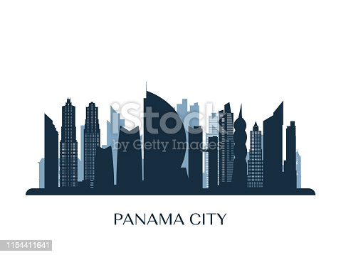 Panama City skyline, monochrome silhouette. Vector illustration.