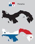 panama country map silhouettes, black and with panama flag