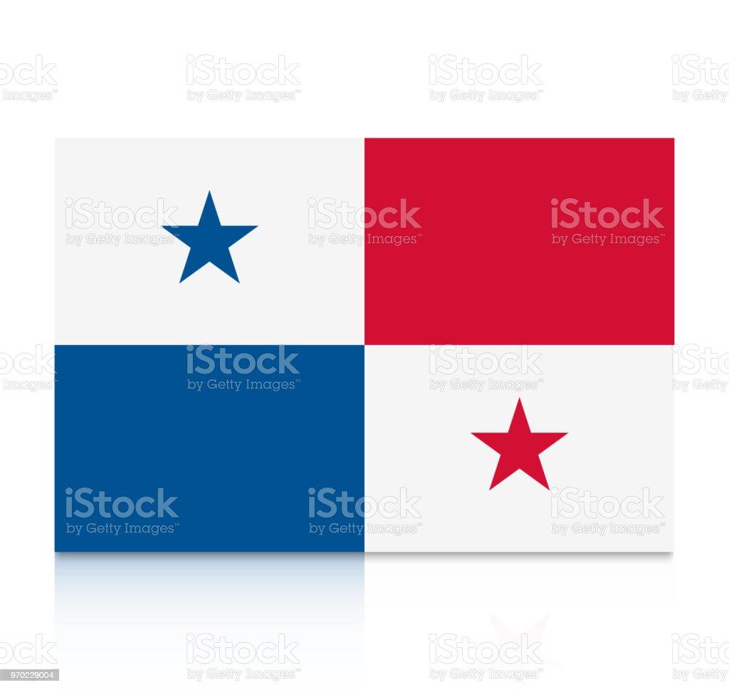 Panama Flag Icon With Reflection Isolated On White Background Stock