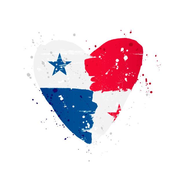 Panama-Flagge in Form eines großen Herzens. – Vektorgrafik