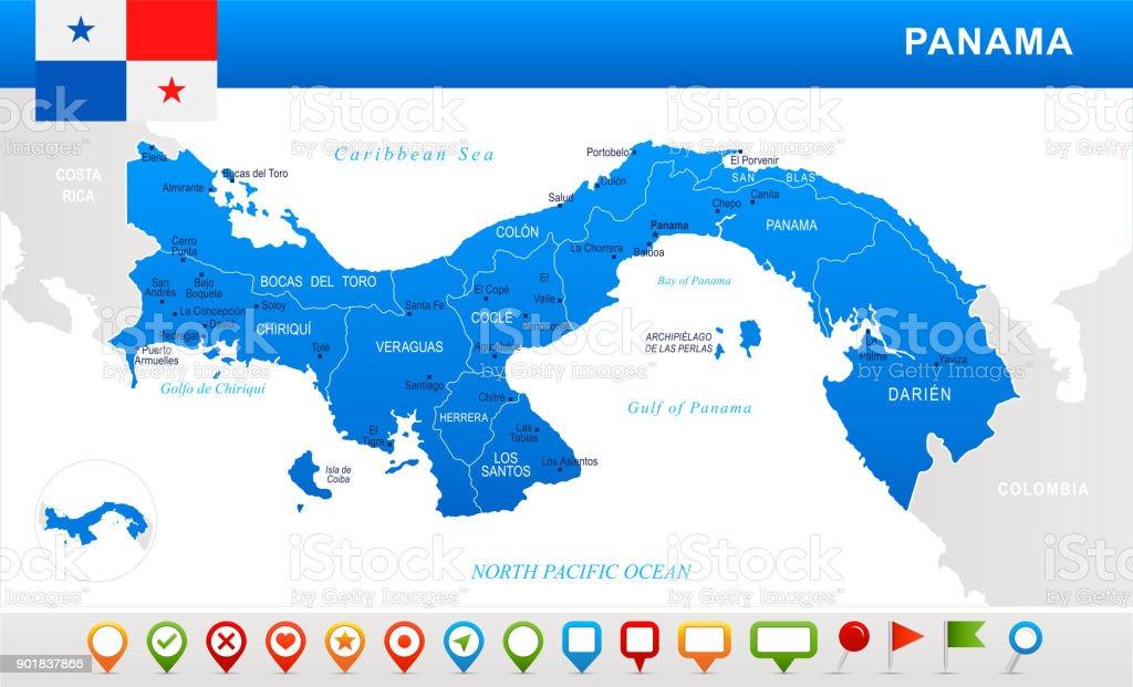 e5bdbb8d Panama - map, flag and navigation icons - Detailed Vector Illustration  royalty-free panama