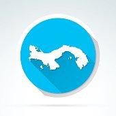 Panama map icon, Flat Design, Long Shadow