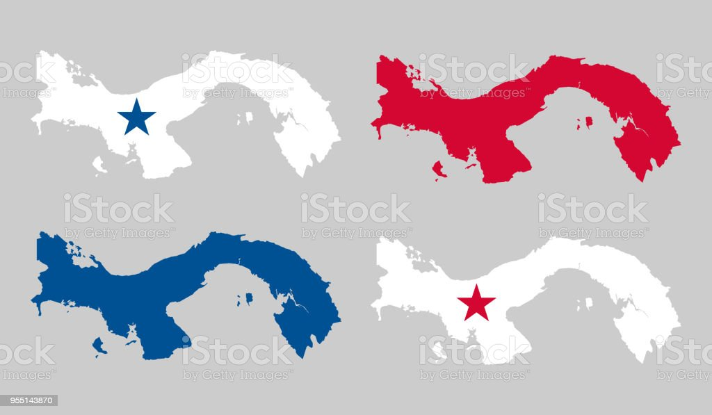 Panama Map Stock Vector Art & More Images of Black Color 955143870 ...