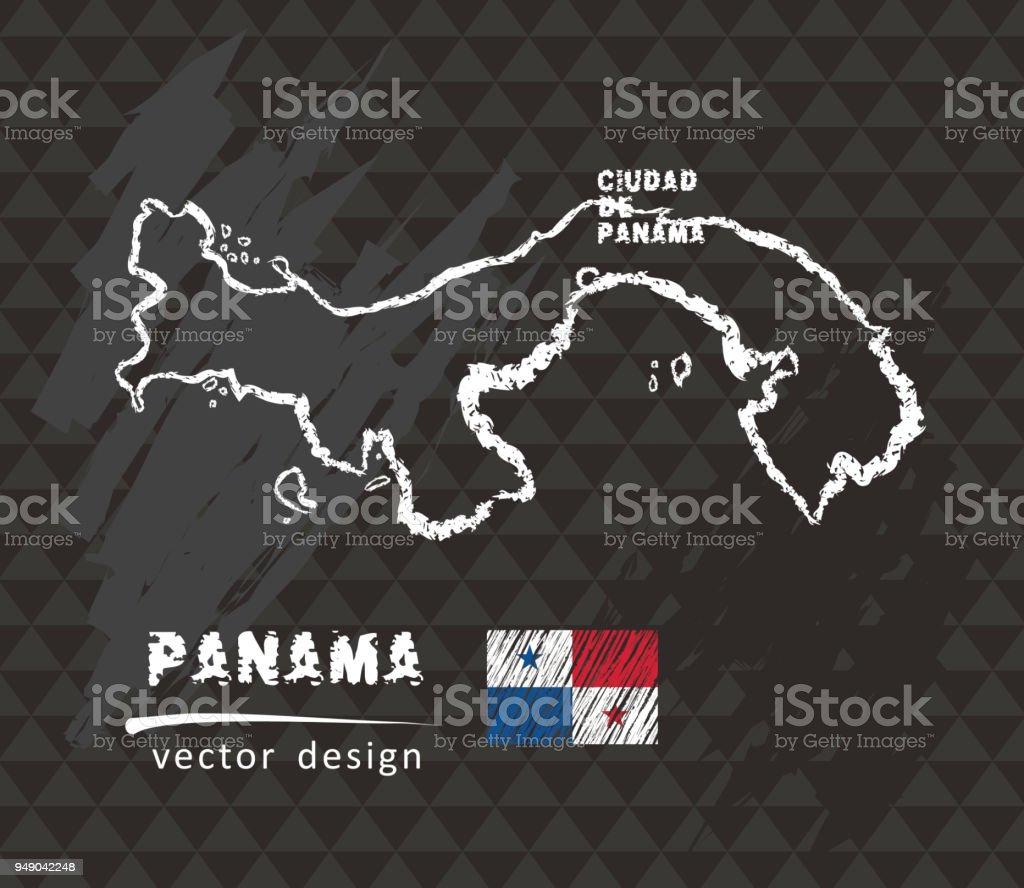 Panama map, vector pen drawing on black background vector art illustration