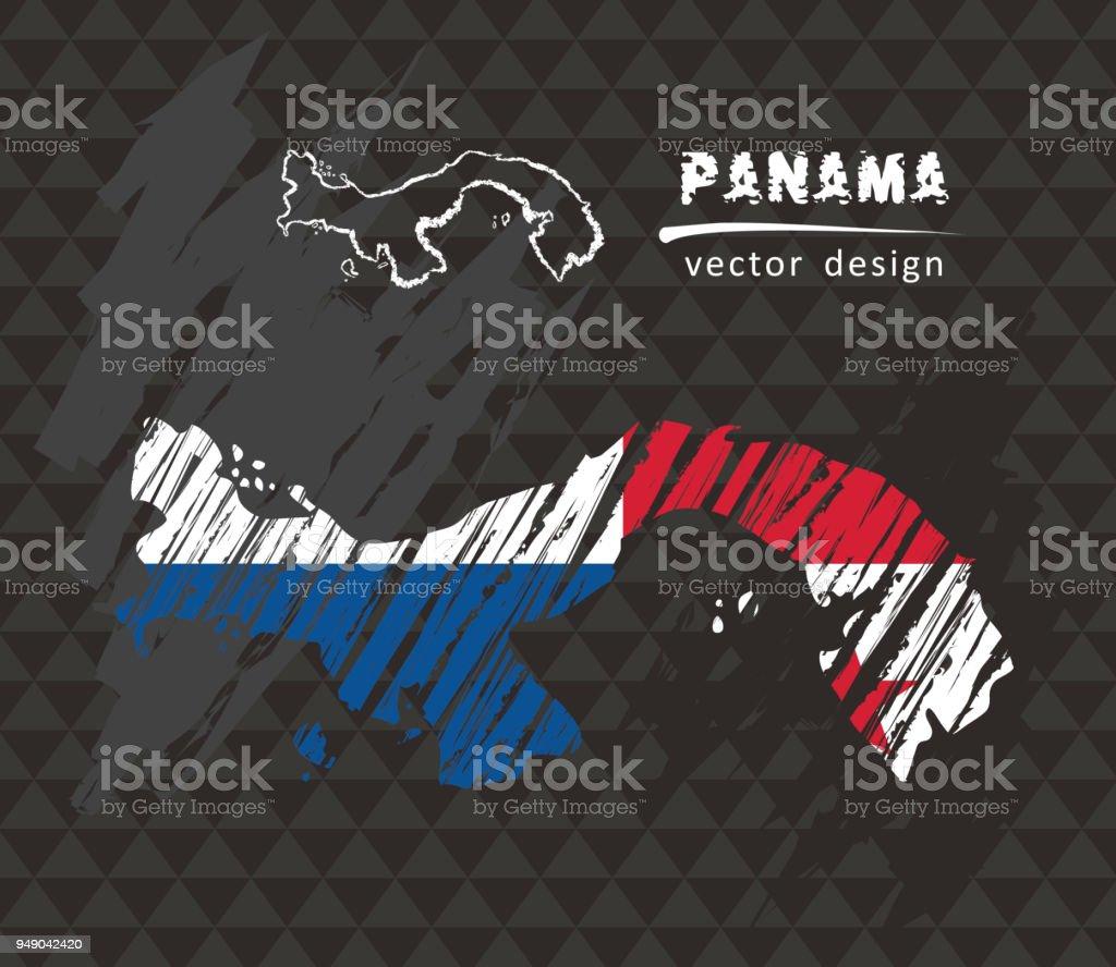 Panama national vector map with sketch chalk flag. Sketch chalk hand drawn illustration vector art illustration