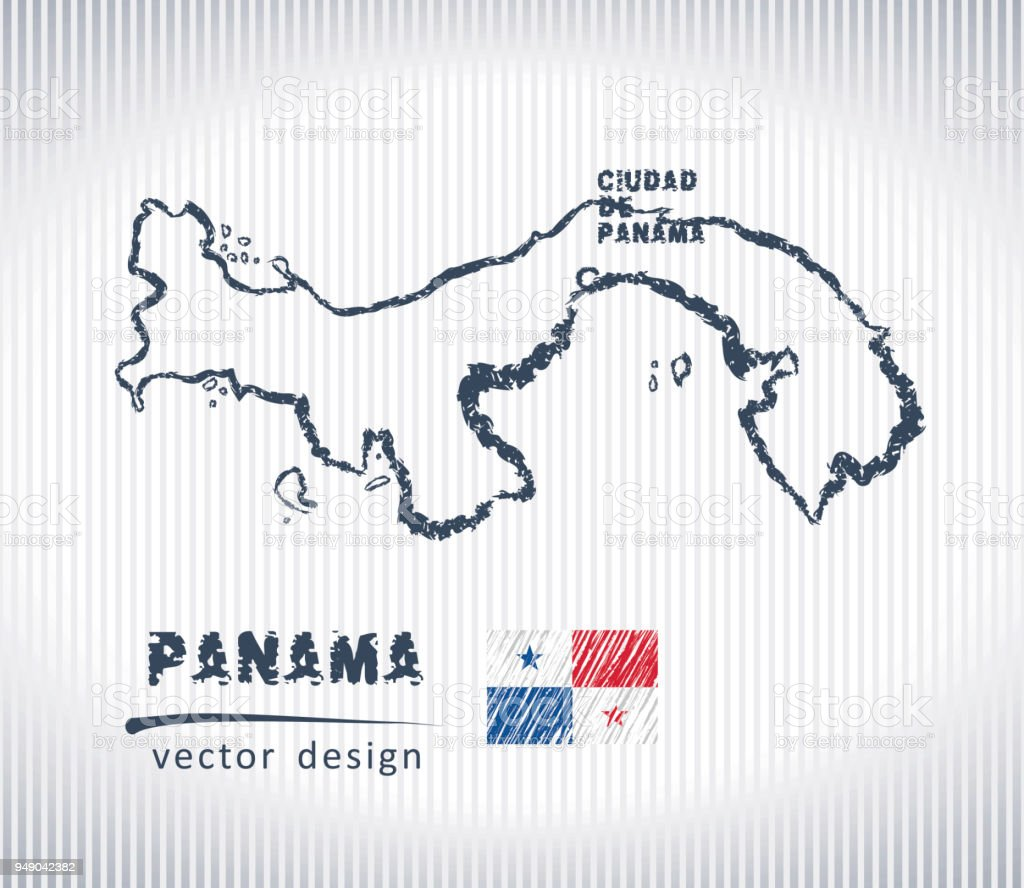 Panama vector chalk drawing map isolated on a white background vector art illustration