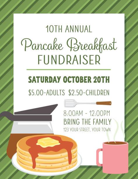 ilustraciones, imágenes clip art, dibujos animados e iconos de stock de pancake desayuno plantilla póster  - desayuno