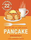Poster or flyer for a pancake breakfast fundraiser event. Charity event poster template.