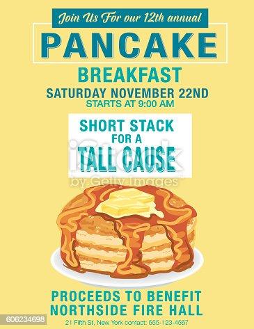 istock Pancake Breakfast Poster Template 606234698