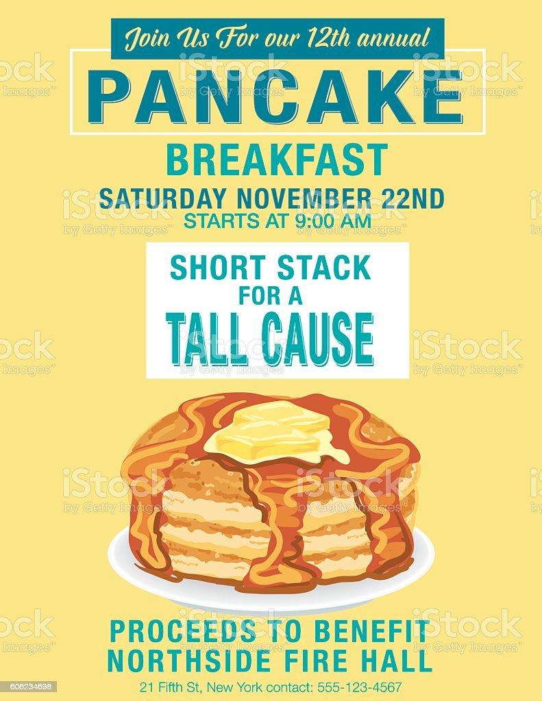 Pancake Breakfast Poster Template vector art illustration