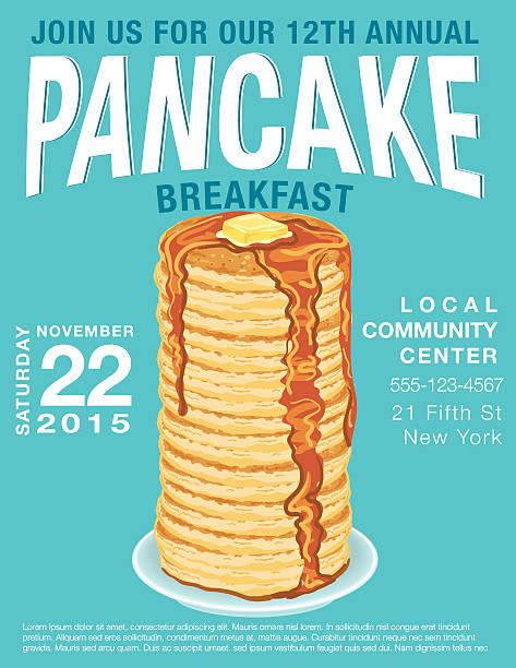 パンケーキ、朝食用ポスターテンプレート  - パンケーキ点のイラスト素材/クリップアート素材/マンガ素材/アイコン素材