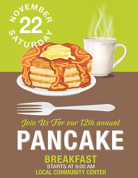 Pancake Breakfast Poster Template Poster or flyer for a pancake breakfast fundraiser event. Charity event poster template. pancake stock illustrations