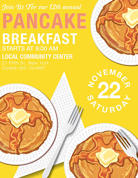 Pancake Breakfast Poster Template vector art illustration