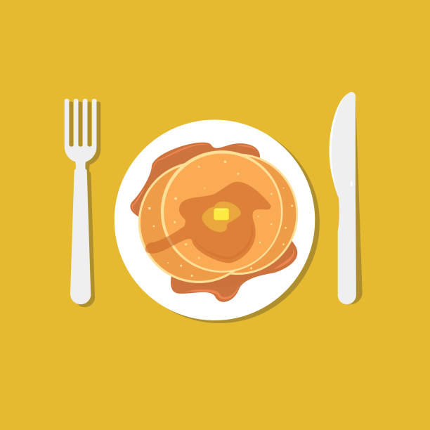 Pancake, Knife & Fork Pancake, Knife and Fork maple syrup stock illustrations