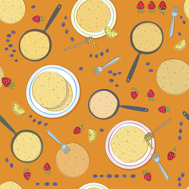 Pancake seamless pattern Seamless pattern with pancakes, pans, lemon, strawberry, blueberry, honey dipper and fork lent stock illustrations