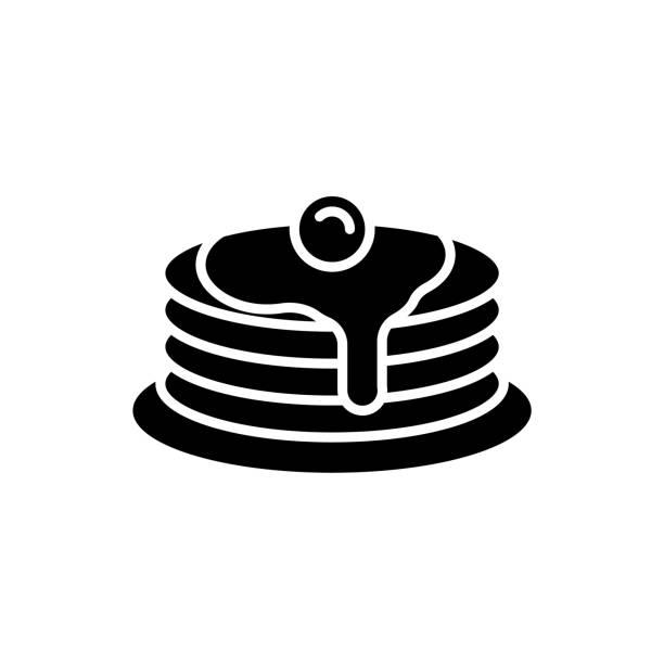白い背景にパンケーキスタック黒のアイコン - パンケーキ点のイラスト素材/クリップアート素材/マンガ素材/アイコン素材