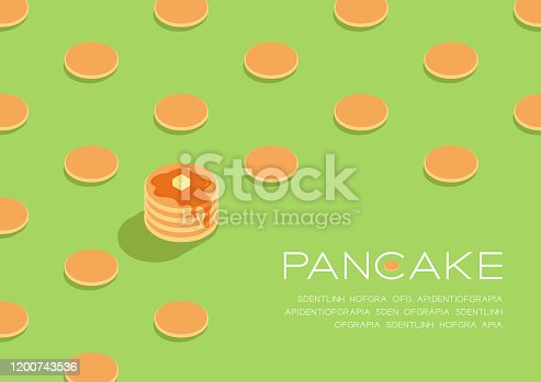 Pancake with honey syrup butter 3D isometric pattern, Breakfast bakery concept poster and social banner post horizontal design illustration isolated on green background with copy space, vector eps 10