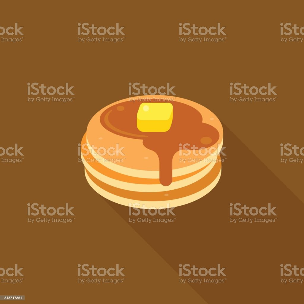 pancake with syrup and butter on top illustration vector art illustration