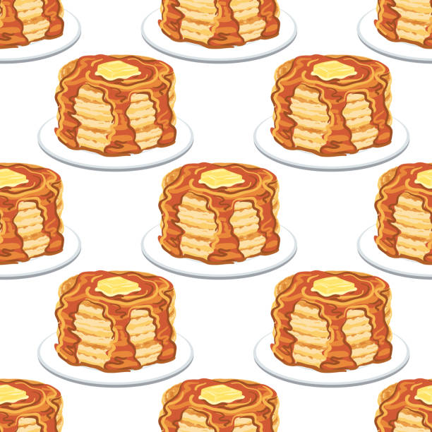 Pancakes And Syrup Seamless Pattern Pancakes And Syrup Seamless Pattern maple syrup stock illustrations