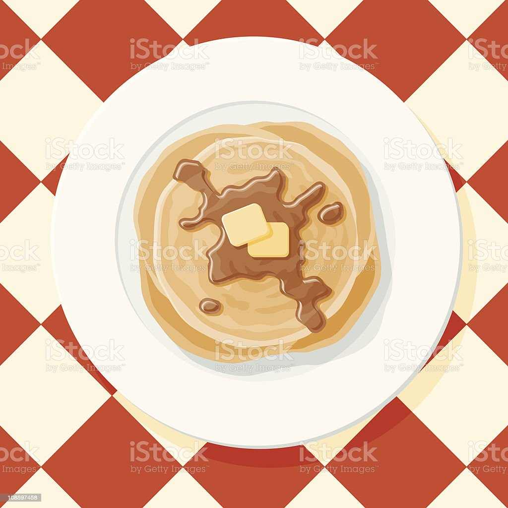 Pancakes and Syrup vector art illustration