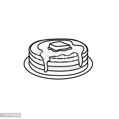 istock Pancakes Breakfast icon In Thin Line Style 1237629523