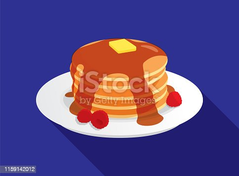 Vector illustration of a stack of pancakes against a blue background.