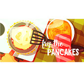 Pancakes Frying Bright Color Illustration