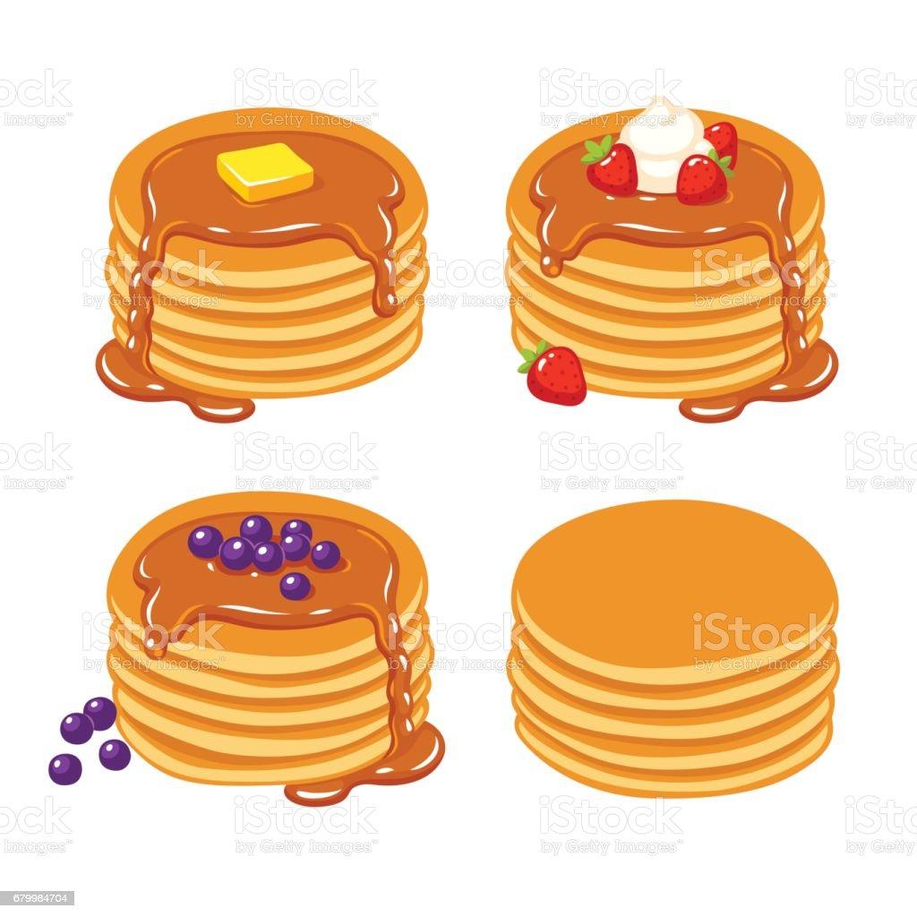 Pancakes illustration set vector art illustration