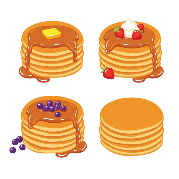 Pancakes illustration set Set of traditional breakfast pancakes with berries, syrup, butter and plain. Beautiful realistic vector illustration. maple syrup stock illustrations
