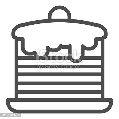 Pancakes line icon. Cream cakes stack, breakfast with vanilla and berries symbol, outline style pictogram on white background. Bakery sign for mobile concept and web design. Vector graphics
