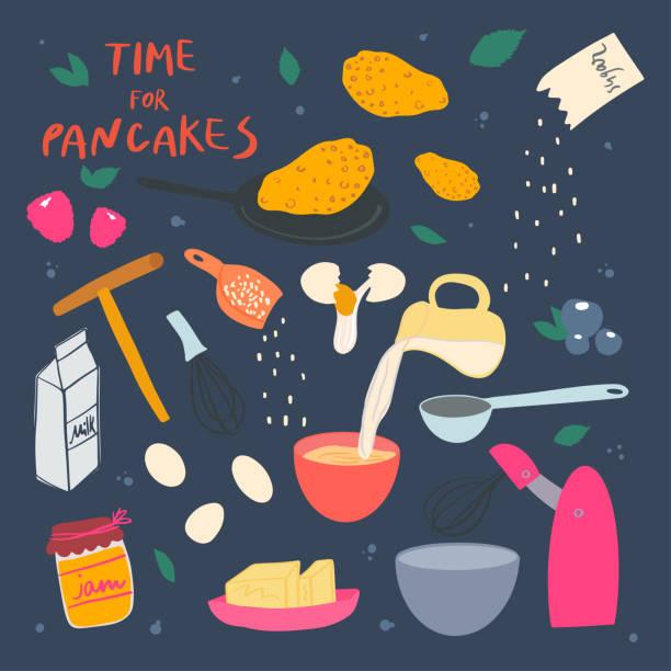 bildbanksillustrationer, clip art samt tecknat material och ikoner med pannkakor som gör processen. ingredienser och porslin porslin - frying pan