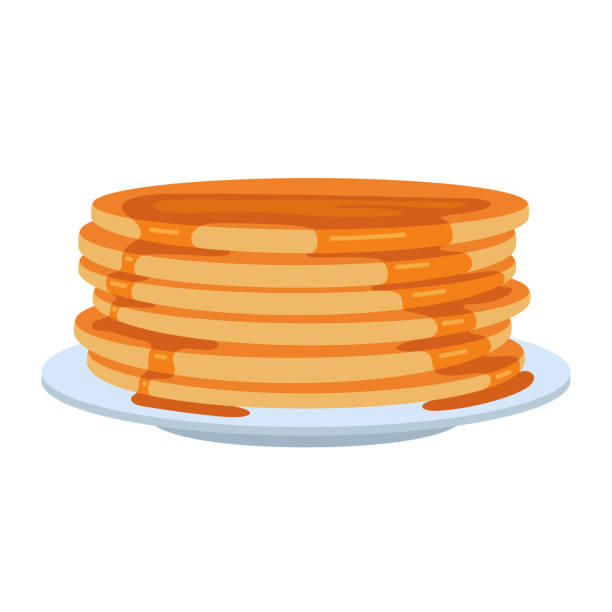 Pancakes on plate Pancakes on plate. Delicious, fluffy food, family breakfast and special holiday morning. Vector flat style cartoon illustration isolated on white background maple syrup stock illustrations