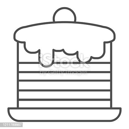 Pancakes thin line icon. Cream cakes stack, breakfast with vanilla and berries symbol, outline style pictogram on white background. Bakery sign for mobile concept and web design. Vector graphics