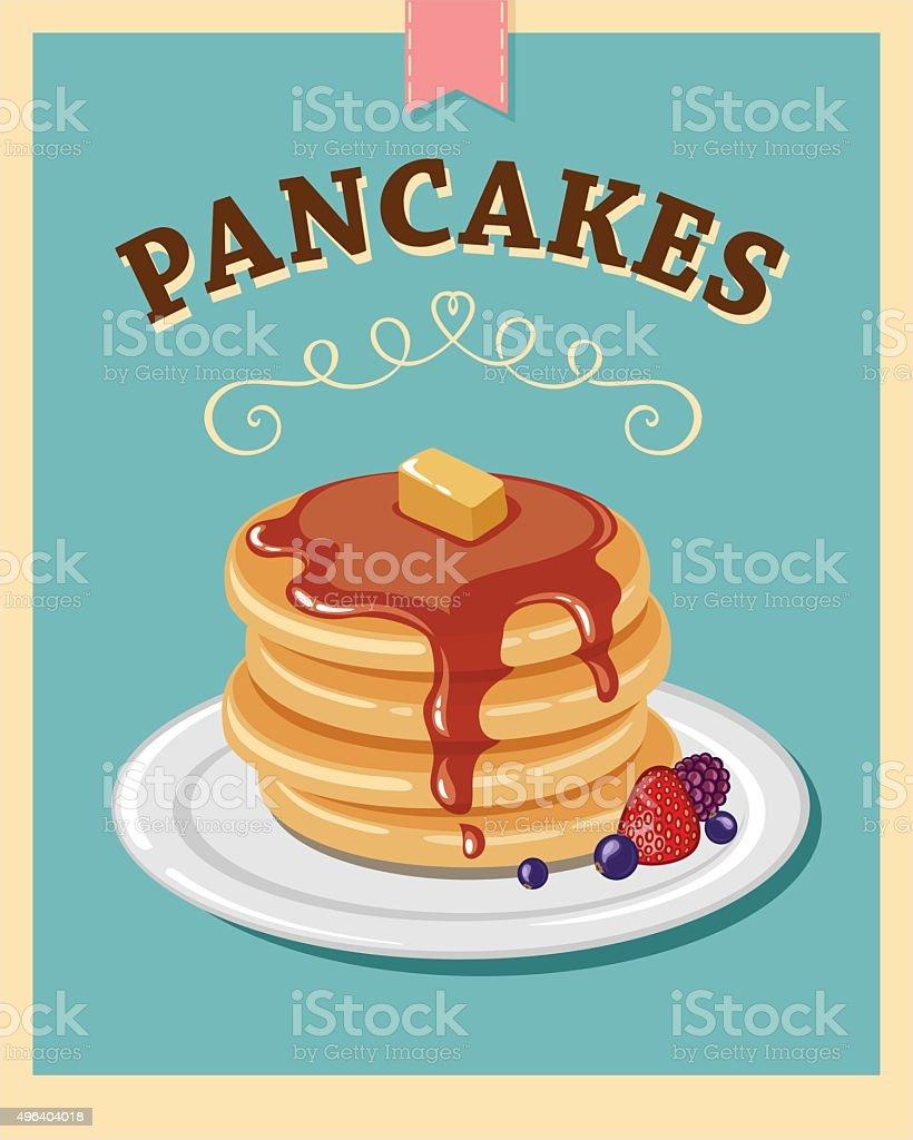 pancakes vector art illustration