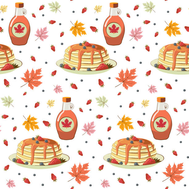 Pancakes with berries and maple syrup seamless pattern. Tasty breakfast and maple leaves seamless texture. Pancakes with berries and maple syrup seamless pattern. Tasty breakfast and maple leaves seamless texture. Textile, wrapping paper, wallpaper design. Stock vector. Isolated object white background. maple syrup stock illustrations
