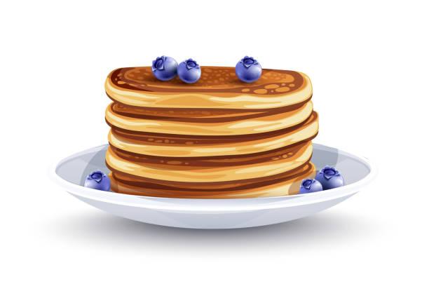 プレートにブルーベリーが入ったパンケーキ。伝統的な朝食。ベクトルイラスト。 - パンケーキ点のイラスト素材/クリップアート素材/マンガ素材/アイコン素材