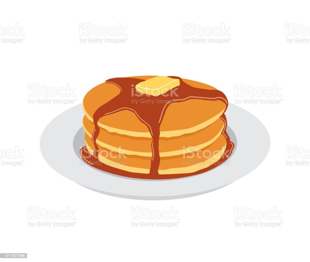 白いプレートにバターとメープル シロップの甘いパンケーキ - おやつのロイヤリティフリーベクトルアート