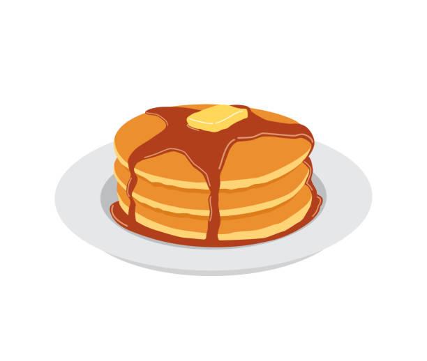 白いプレートにバターとメープル シロップの甘いパンケーキ - パンケーキ点のイラスト素材/クリップアート素材/マンガ素材/アイコン素材