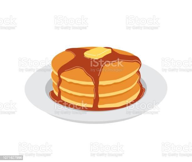 白いプレートにバターとメープル シロップの甘いパンケーキ - おやつのベクターアート素材や画像を多数ご用意