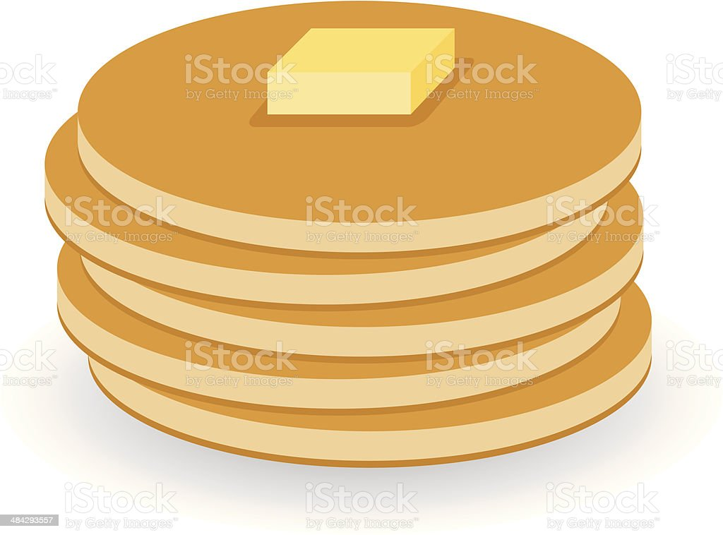 pancakes with butter vector art illustration