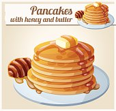 Pancakes with honey and butter. Cartoon vector icon