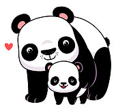 Cartoon father or mother panda and cute cub.