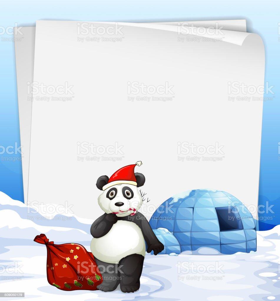 Panda and igloo royalty-free stock vector art