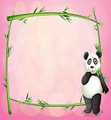 Panda and the green bamboo frame