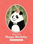 Cute Panda Animal Cartoon Birthday card design