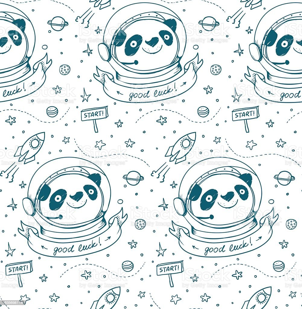 Panda Astronaut and Cosmos seamless pattern royalty-free panda astronaut and cosmos seamless pattern stock vector art & more images of adventure