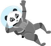 Panda astronauts. Design for a holiday, postcards, clothing, stationery. Illustrations for children.