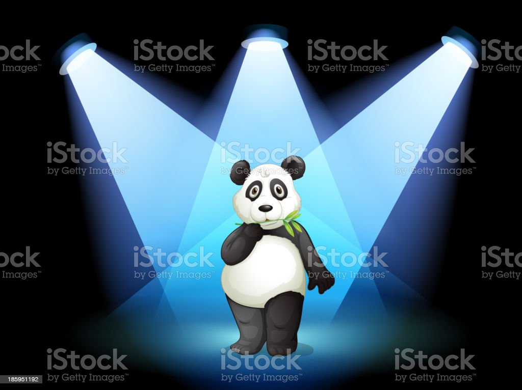 panda at the center of stage with spotlights royalty-free panda at the center of stage with spotlights stock vector art & more images of acting