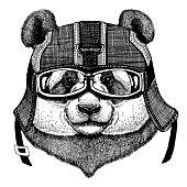 Panda, bamboo bear Hipster animal wearing motorycle helmet. Image for kindergarten children clothing, kids. T-shirt, tattoo, emblem, badge, logo, patch